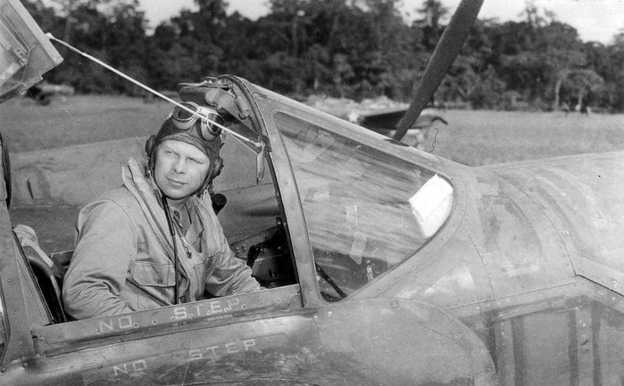 Richard Bong in the cockpit of his aircraft
