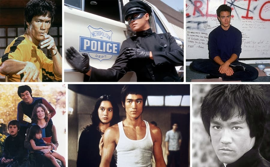 Bruce Lee with his hands up in the film Game of Death / Bruce Lee prepared to fight crouching down beside a police car in the show The Green Hornet / Brandon Lee sitting on the ground in front of a wall with writing all over it / Bruce and Laura Lee with their children / Bruce Lee with a girl standing behind him in a scene from Return of the Dragon / A portrait of Bruce Lee