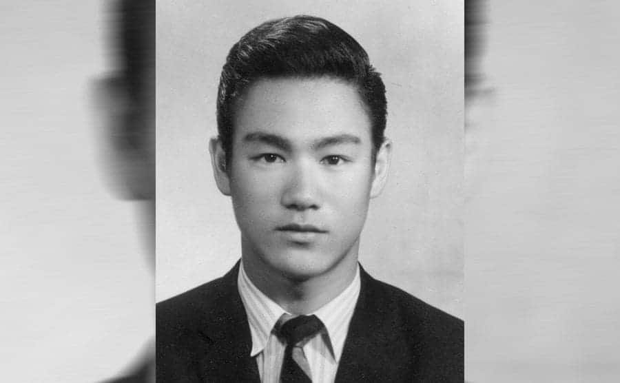 Bruce Lee posing for a portrait when he was younger