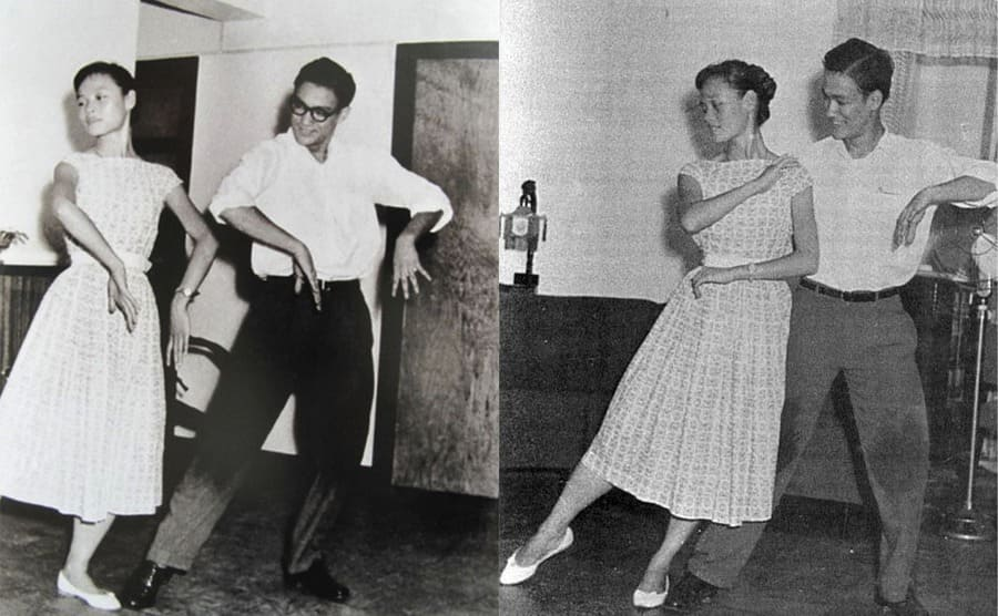Photographs of Bruce Lee dancing the Cha Cha