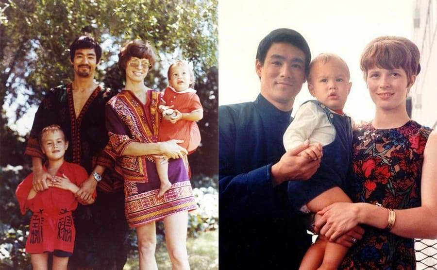 Bruce and Linda Lee with their kinds, Brandon and Shannon / Bruce and Linda Lee with Brandon as a baby