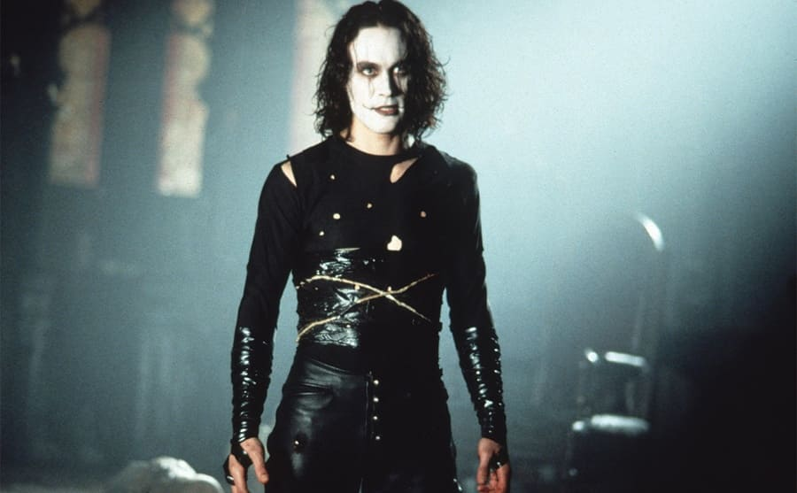 Brandon Lee dressed up with white paint on his face for his part in the film The Crow