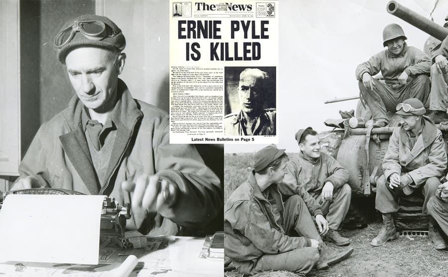 Ernie Pyle sitting at a desk behind a typewriter / Ernie Pyle sitting in front of a tank with soldiers / A newspaper with the news of Ernie Pyle's death.
