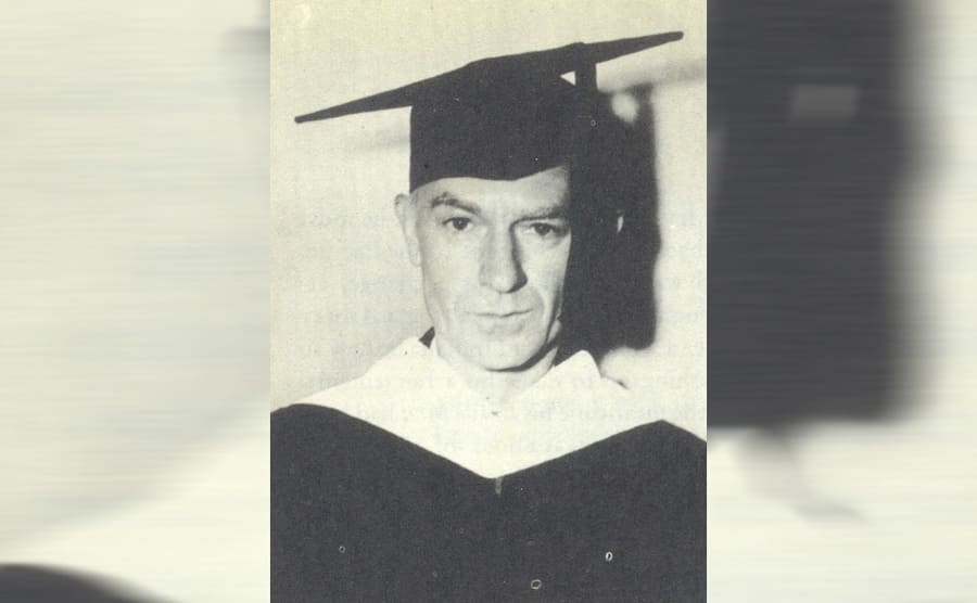 Ernie Pyle with a graduation cap on