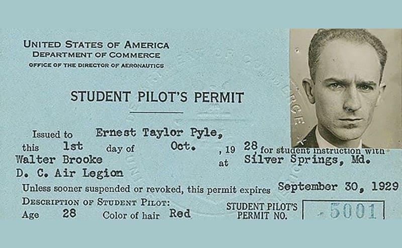 Ernie Pyle's pilots permit