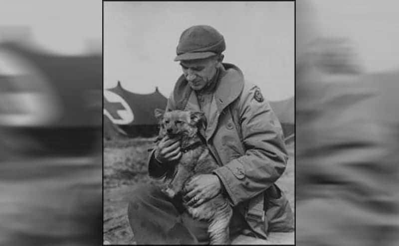 Ernie Pyle holding a small dog in front of a military medic's tent