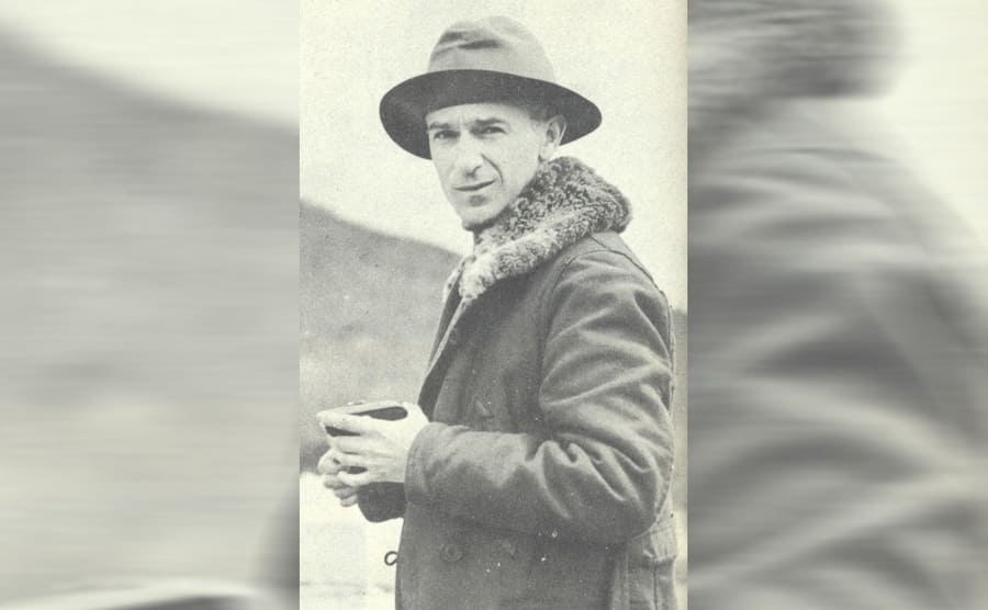 Ernie Pyle in a winter coat and hat