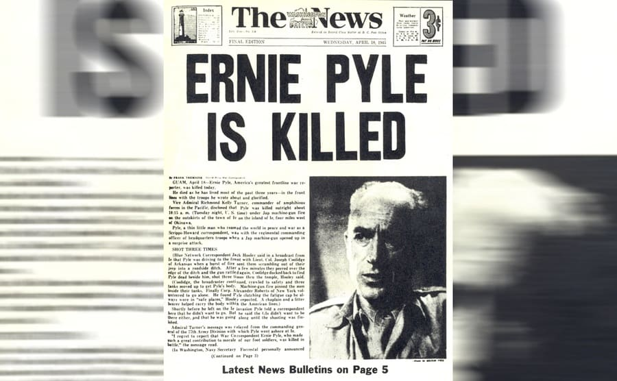 A newspaper with the news of Ernie Pyle's death