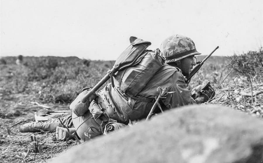 A soldier crawling