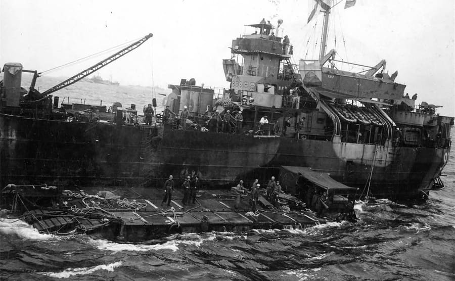 LST with wounded Marines on it