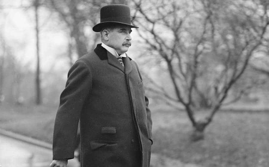 JP Morgan leaving the White House circa 1915