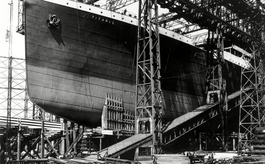 The RMS Titanic under construction