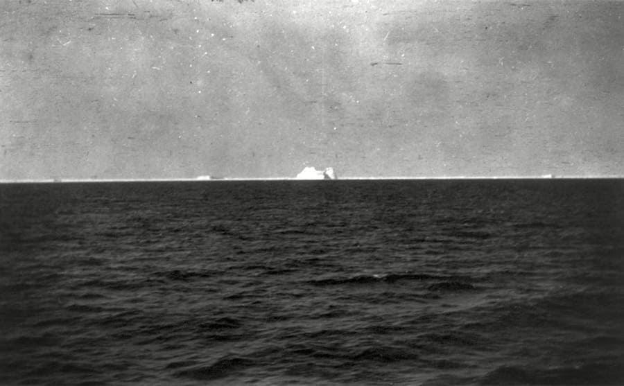 A view of an iceberg in the distance