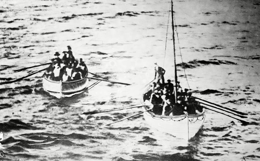 Two lifeboats filled with survivors