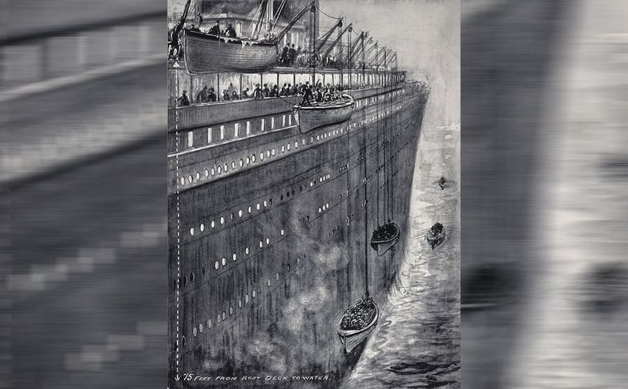 An illustration of lifeboats being lowered from the Titanic