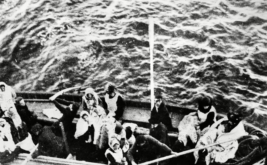 Titanic lifeboat with people in it
