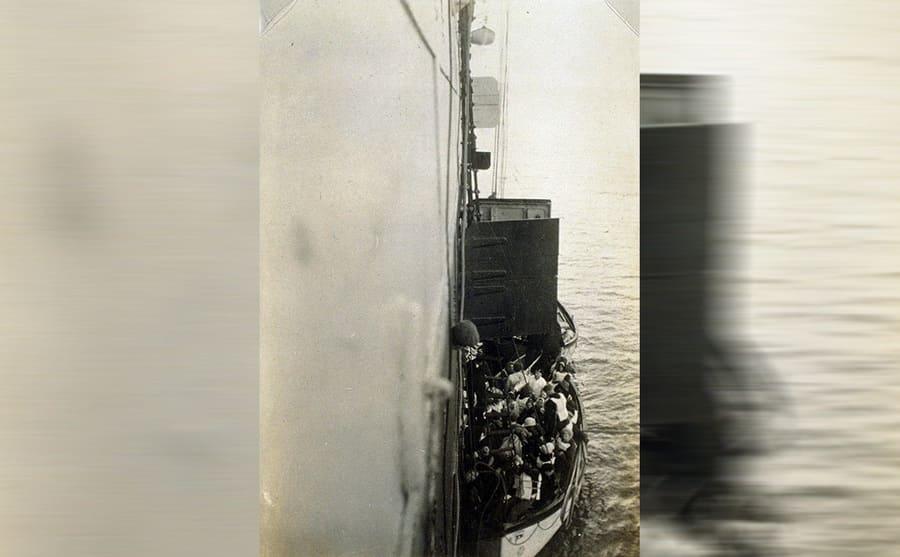 Lifeboats from the Titanic alongside the Carpathia
