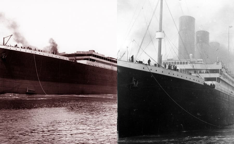 Two photographs of the Titanic, one with fourteen portholes and one with sixteen