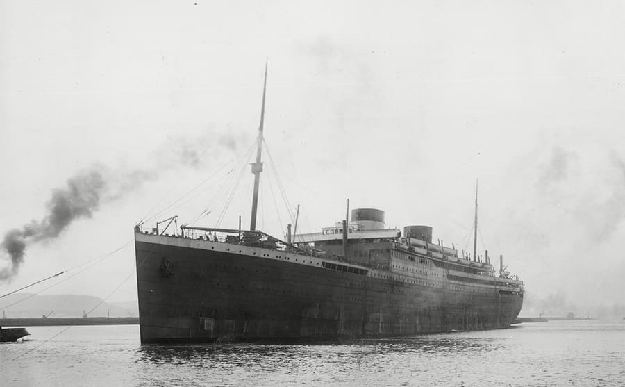 The HMHS Britannic in the water