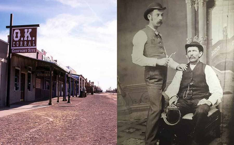 The O.K. Corral gunfight site in Tombstone Arizona / Doc Holliday holding dentistry tools with a man sitting in his chair