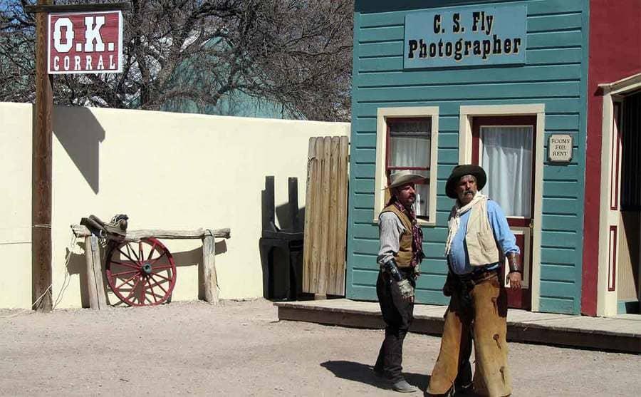 Reenactors outside of the O.K. Corral saloon