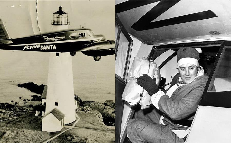 The Flying Santa plane going passed a lighthouse / Edward Rowe Snow dropping a package