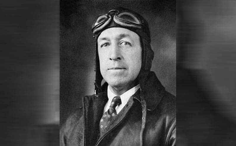 William Wincapaw wearing a pilot's hat, jacket, and goggles