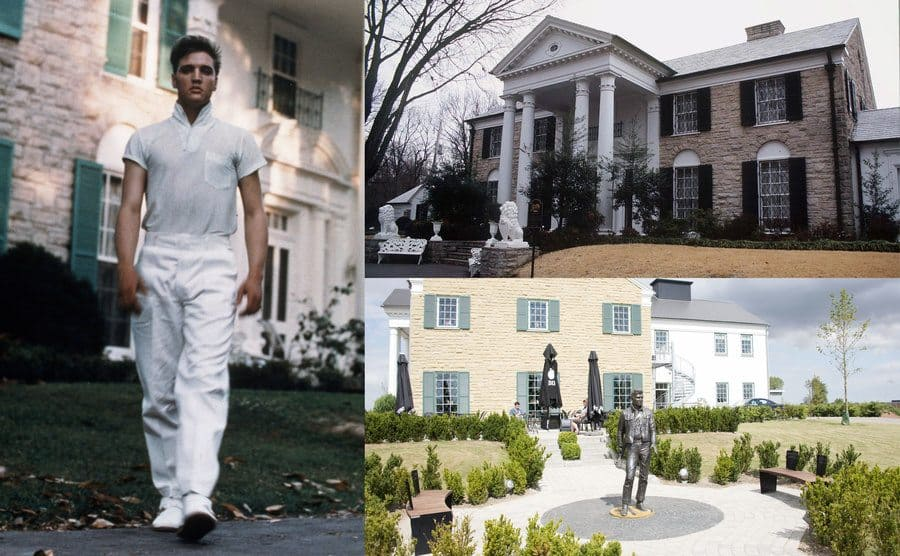 Elvis Presley walking in his front yard / A front view of Graceland / The backyard of Graceland with a statue of Elvis in it