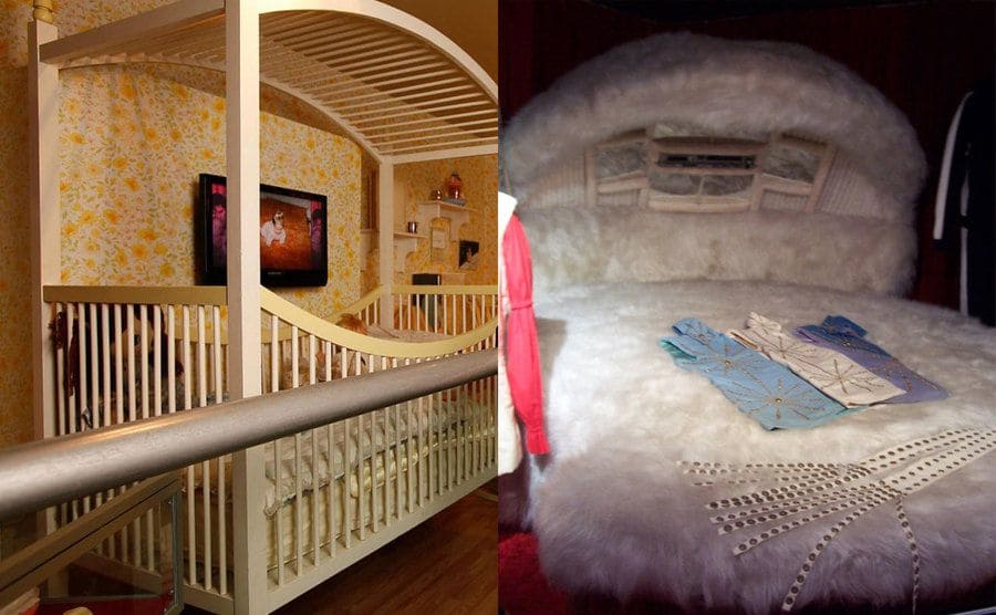 Lisa Marie standing next to her childhood bed / A photograph of the fluffy circular bed