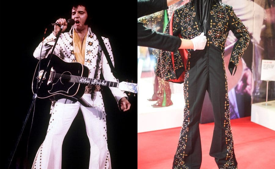 Elvis Presley performing with a white rhinestone-studded suit / A woman adjusting a black rhinestone-studded suit which was worn by Presley