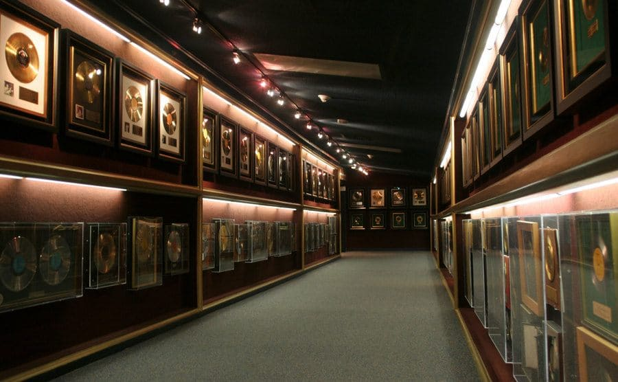 A hallway in Graceland covered in Gold and Platinum records
