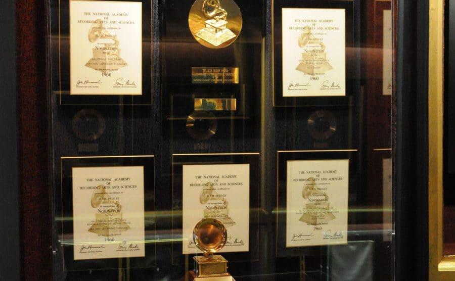 Elvis' display of Awards