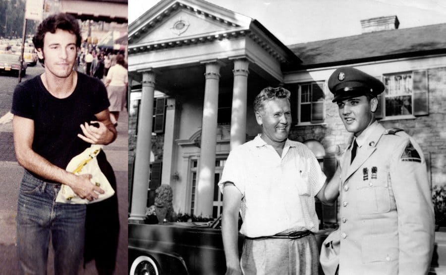 Bruce Springsteen photographed walking down the street circa 1980 / Elvis Presley in uniform and his father standing outside of Graceland