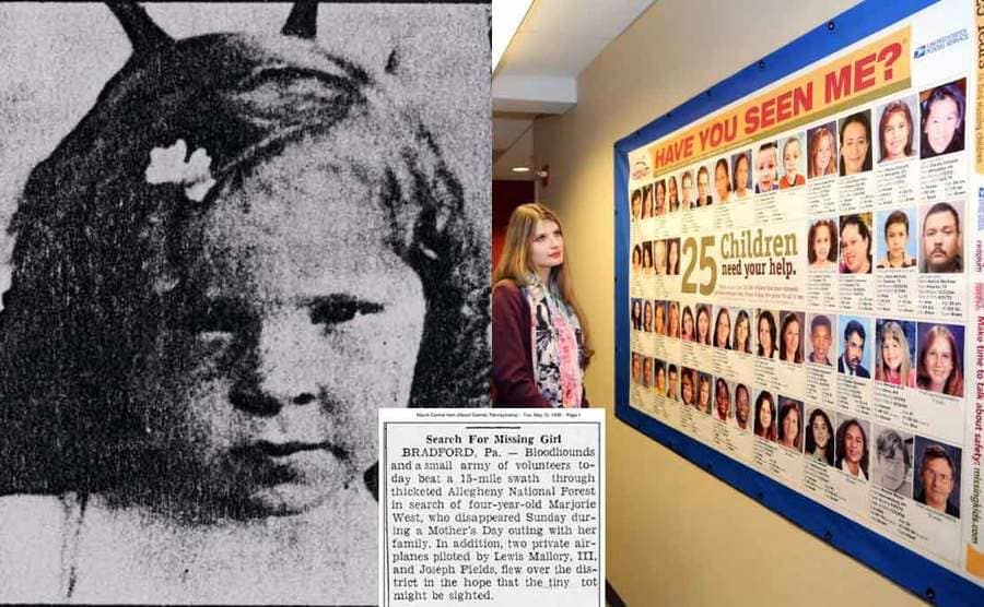A photograph of Marjorie West / A woman standing next to a bulletin board with missing children on it / A newspaper article of Marjorie missing