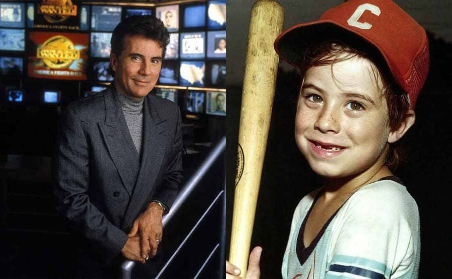 John Walsh on the set of America's Most Wanted / Adam Walsh holding a baseball bat