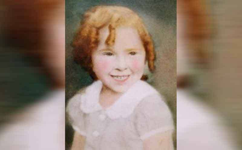 Marjorie West as a young girl with Shirley Temple curls