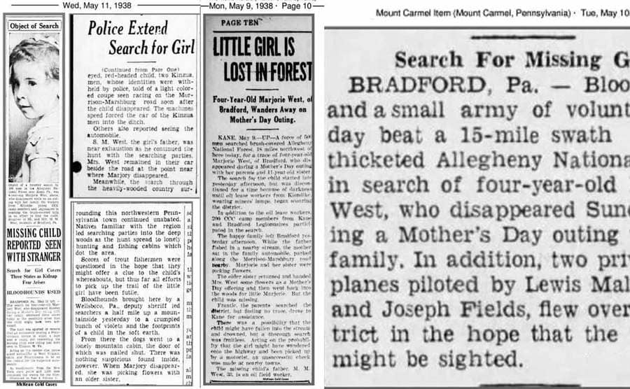 Three newspaper articles about Marjorie from May 9th, 10th, and 11th