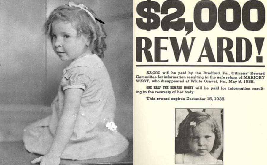 A portrait of Marjorie West posing as a young girl / A wanted poster for Marjorie with a $2000 reward