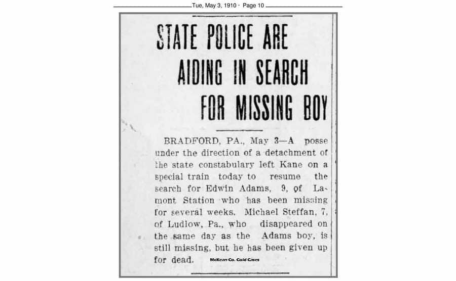 A newspaper clipping from the disappearance of Edward and Michael