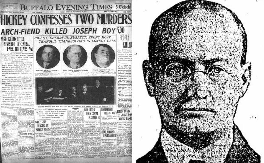 An old portrait of Frank Hickey / A newspaper clipping from when Hickey confessed to two murders