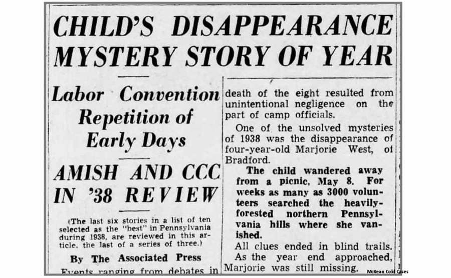 A newspaper article of Marjorie's disappearance