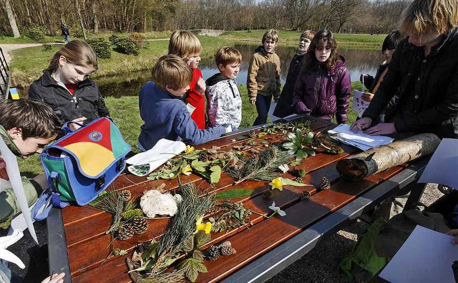Children on a class trip standing around a picnic table at the park covered in plants