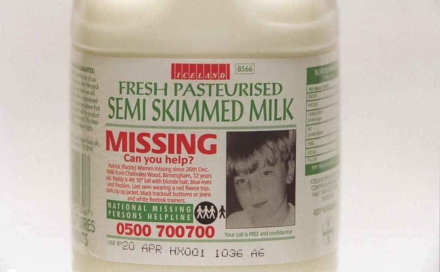 A missing boy advertised on a bottle of milk