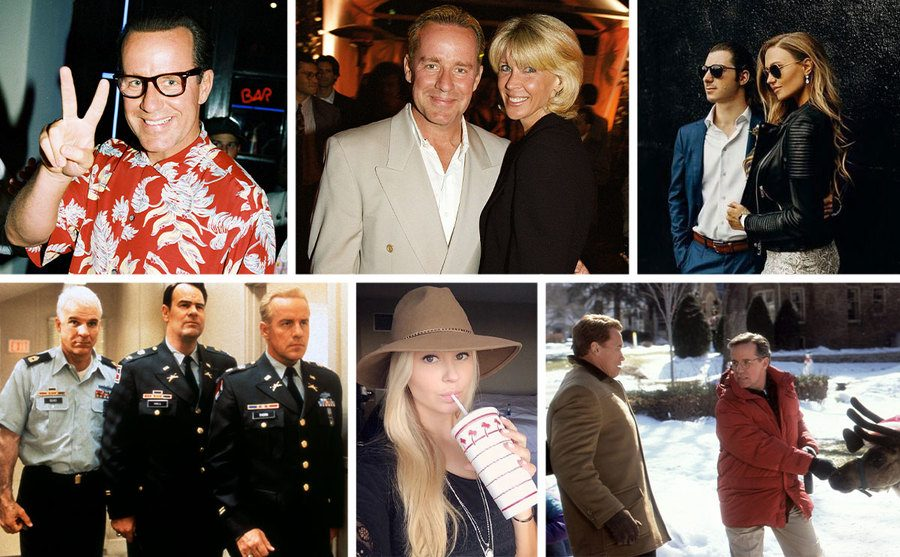 Phil Hartman on the red carpet in 1993 / Phil and Brynn Hartman on the red carpet in 1995 / Birgen and her husband posing on the red carpet / Steve Martin, Dan Aykroyd, and Phil Hartman wearing uniforms in a movie 1996 / Birgen drinking a soft drink and wearing a hat / Arnold Schwarzenegger and Phil Hartman with a reindeer in a Christmas movie