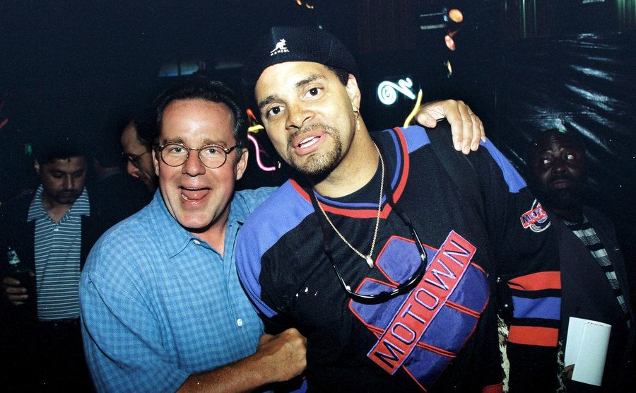 Phil Hartman and Sinbad on the red carpet at the Nutty Professor premiere
