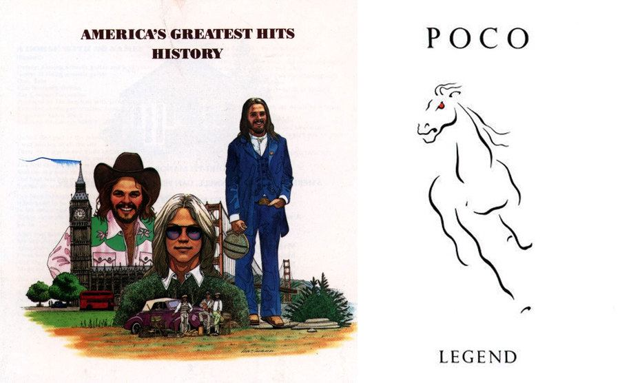 The cover of America's Greatest Hits History / The cover of Poco's Legend album with the outline of a horse