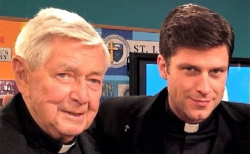 Ralph Waite and Greg Vaughan wearing priest costumes