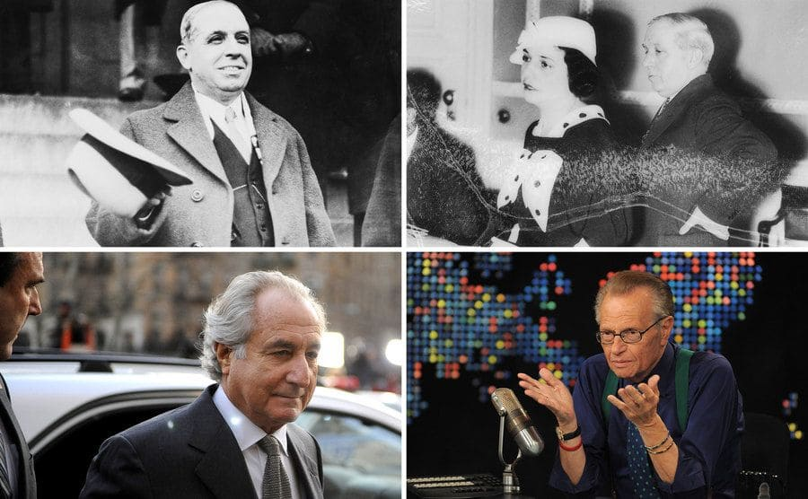 Charles Ponzi and his wife standing in an office room / Charles Ponzi walking down a set of steps with his hat off / Bernie Madoff arriving in a white car to court / Larry King sitting behind his desk with a microphone, mug, and papers on his show Larry King Live