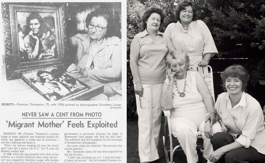 An old clipping of the Los Angeles Times talking about how the Migrant Mother feels exploited/Thompson (seated) with three of her daughters.