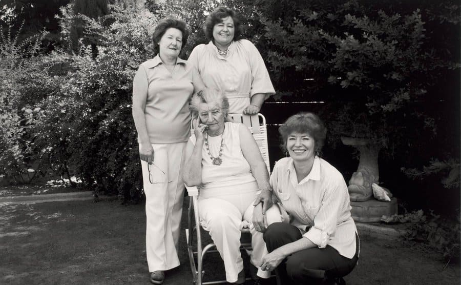 Thompson (seated) with three of her daughters.